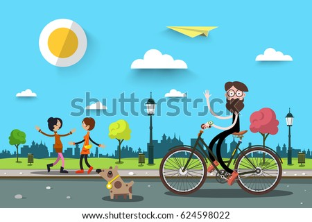 Man on Bicycle with Two Women. Vector Flat Design Nature City Landscape.