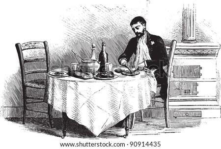 man on dinning table   vintage