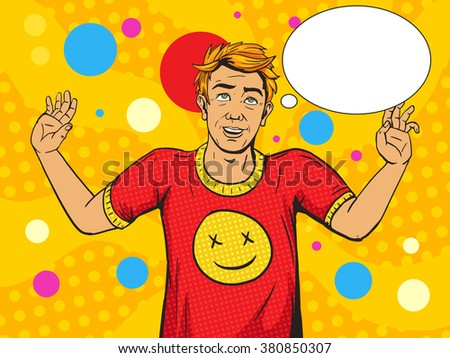 Man on drugs pop art style vector illustration. Narcotic intoxication. Human illustration. Comic book style imitation. Vintage retro style. Conceptual illustration