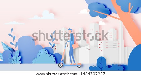 Man on electric scooter in the city with natural and tree background and pastel paper art style vector illustration