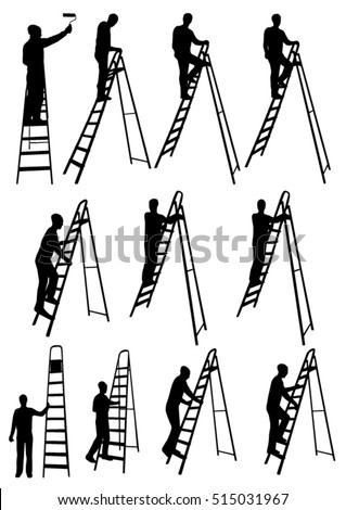 man on ladder silhouettes