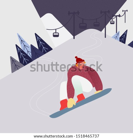 Man on snowboard in the snow Mountains, Winter sport people character silhouettes activities. Active rest snowboarding. Vector illustration