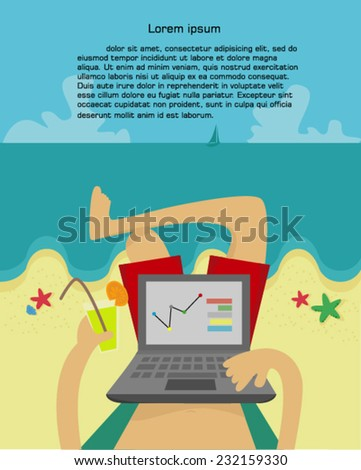 Man on the beach with labtop,vector illustration