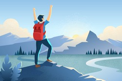 Man on the top of the mountain. Winner concept with a hands up man. Happy tourist with a backpack. Mountains landscape. Motivational stock vector background illustration. Traveler in summer rocks.