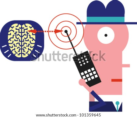 Man on wireless phone accesses information or database remotely