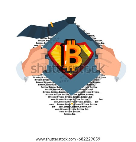 "man open shirt to show ""Bitcoins"" symbol in cartoon style - vector illustration"