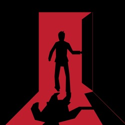 Man open the door and get in to the  red room -vector