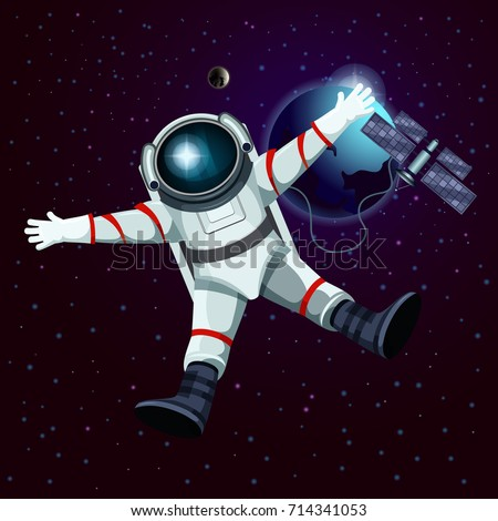 man or male in spacesuit in