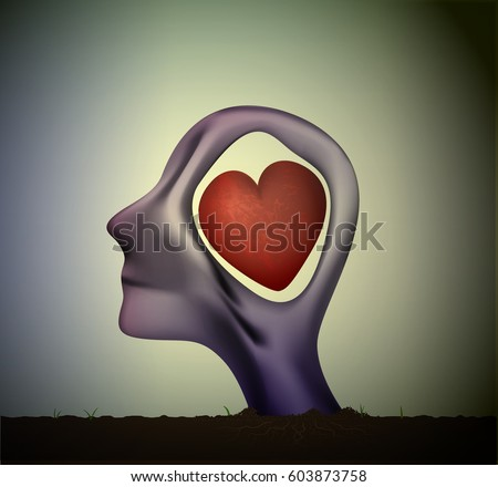 man or woman head in love