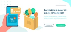 Man order online in internet supermarket. Shopping bag with fresh grocery purchases. Food retail and online store concept. Flat isometric vector illustration isolated on white background.