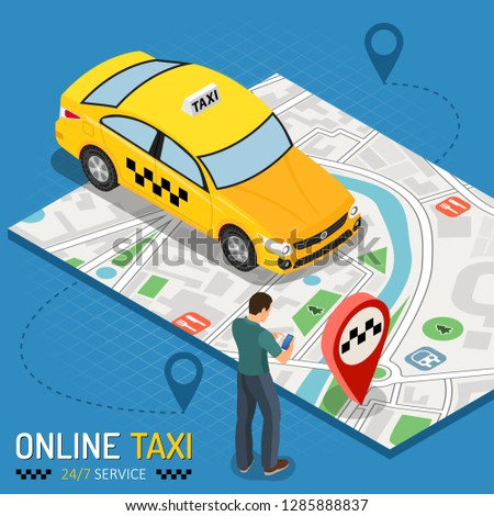 man orders taxi from smartphone