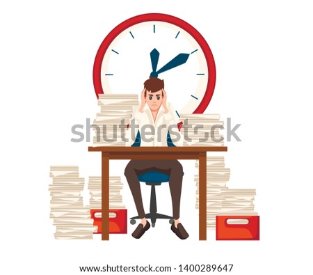 Man overwork in office. Cartoon character design. Worked overtime, tired office worker. Stress of work. Table with paper stacks. Flat vector illustration isolated on white background with big clock
