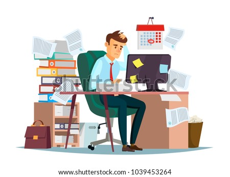 Man overwork in office, deadline vector illustration. Manager sitting at computer desk with stack of documents in mess and deadline tasks sticky notes holding hand on head flat cartoon office design