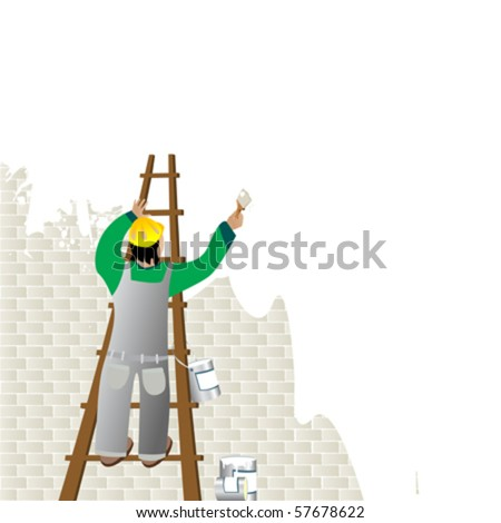 Man Painting Logo Man Painting a Wall From a