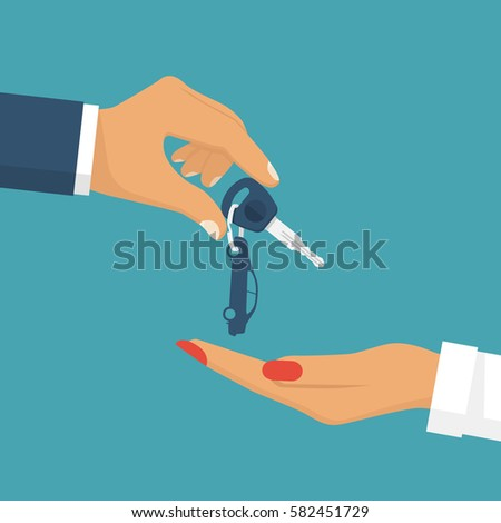man pass car keys female give
