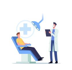 Man Patient Sitting in Medical Chair in Stomatologist Cabinet with Equipment. Doctor Character Conducting Teeth and Oral Cavity Medical Check Up or Treatment. Cartoon People Vector Illustration