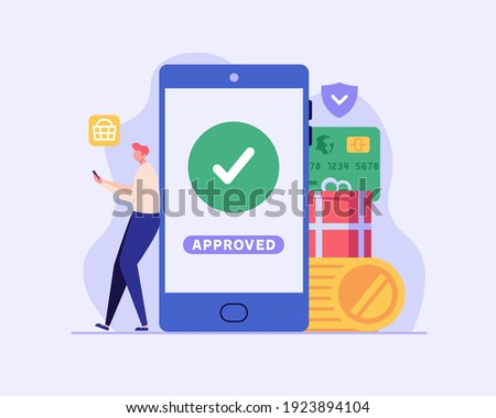 Man pays successfully and safely. Online mobile payment and banking service. Concept of payment approved, payment done, online shopping, money transfer. Vector illustration in flat design