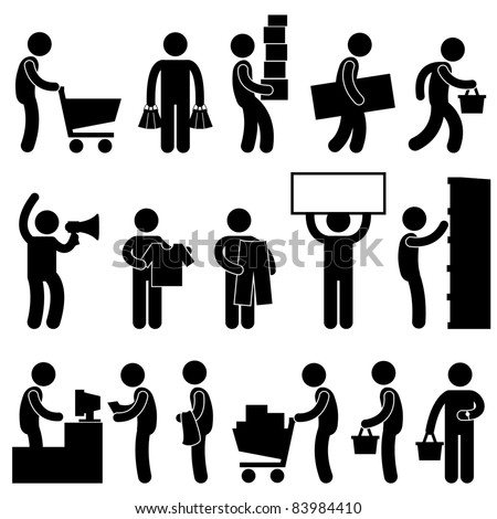 Man People Shopping Cart Buying Market Retail Sale Queue Business Commercial Icon Sign Symbol Pictogram