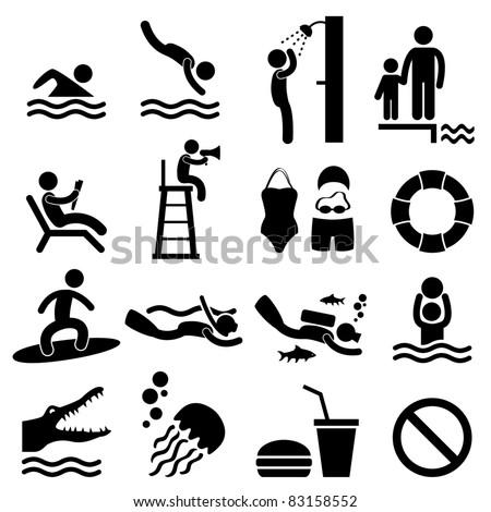 Man People Swimming Pool Sea Beach Sign Symbol Pictogram Icon