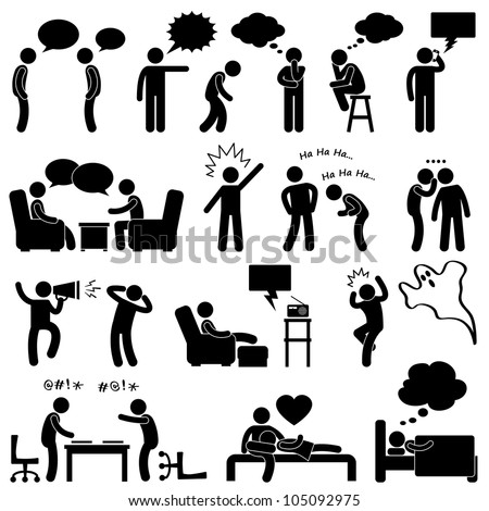 Man People Talking Thinking Conversation Thought Laughing Joking Whispering Screaming Chatting Icon Symbol Sign Pictogram