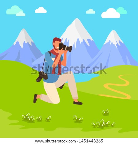 Man photographer shooting nature, landscape view. Photograph character holding camera, focusing and photographing mountains and lake, travel vector