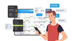 Man planning day, scheduling appointments on cell phone in calendar application. Person texting messages, checking, adding event & meeting reminders in planning app. Flat vector character illustration