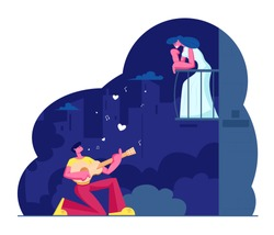 Man Play Guitar Sing Song to Woman on Balcony. Guitarist Serenade at Moonlight on Night City Street. Girl Listen Music. Couple Love Relationship, Romantic Evening Date. Flat Vector Illustration
