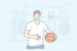 Man playing basketball concept. Young happy man boy teenager athlete cartoon character standing with ball game on field, looking straight at camera. Sport recreation and active lifestyle illustration.