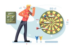 Man playing darts game championship concept. Sportsman throws arrows to the goal. Sport and target. Flat. Vector illustration.