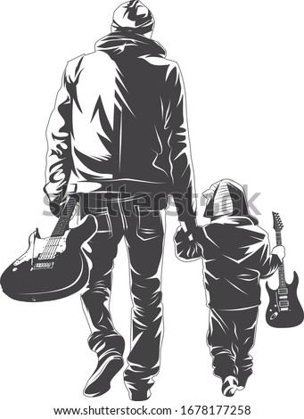 Man playing electric guitar with his son. Father and son playing music together. Father teaching son how to play electric guitar. Good amusment. Pastime with son.