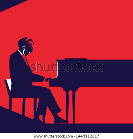 man playing piano silhouette