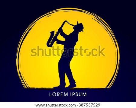 Man playing saxophone, designed on moonlight background graphic vector.