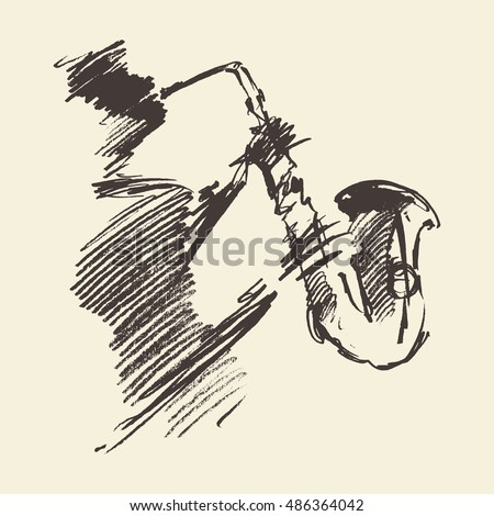 Man playing saxophone. Vintage hand drawn vector illustration, sketch.