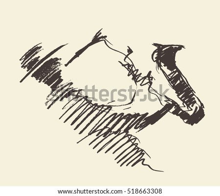 Man playing saxophone. Vintage hand drawn vector illustration, sketch
