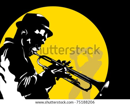 Man playing trumpet on the background of the moon;