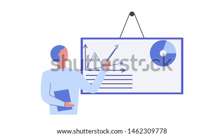 Man pointing at board with charts on it. Statistical analysis metaphor. Symbol of financial management, statistics and business report. Flat vector illustration.