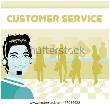 Man portrait customer service/tech support and group of customers. operator talking on headset, smiling