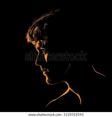 man portrait silhouette in