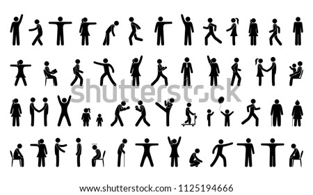 man poses, a set of icons, isolated pictograms, silhouettes of people