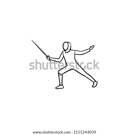 Man practicing fencing hand drawn outline doodle icon. Fencer attack, swardsman, fencing equipment concept. Vector sketch illustration for print, web, mobile and infographics on white background.