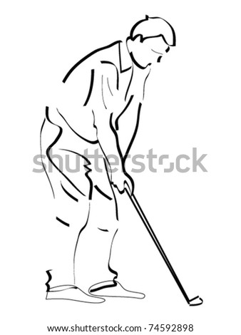 Man practicing golf. Black line drawing on white.