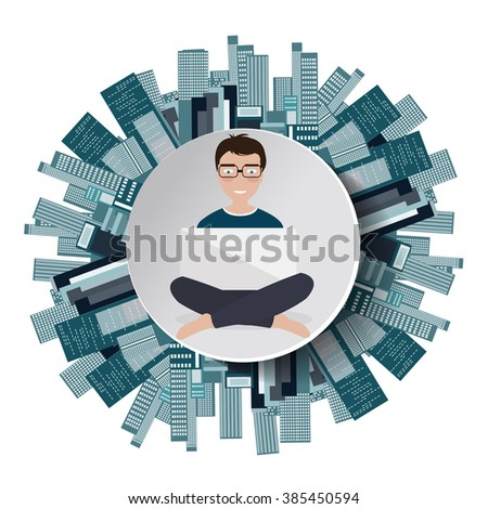 man practicing yoga in digital