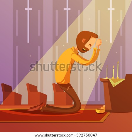 Man praying on his knees in a christian church with candles cartoon vector illustration