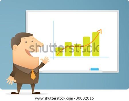 Man Presentation Bar Chart on white board