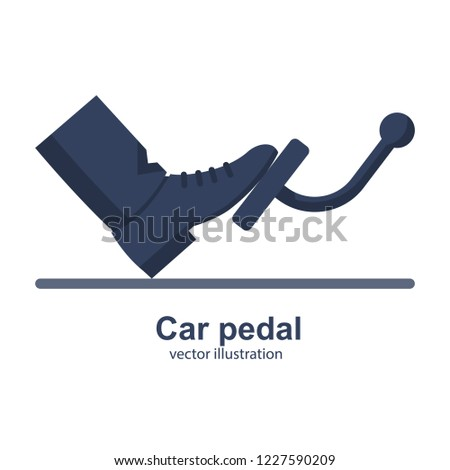 Man presses a foot pedal car. Acceleration transmission brakes. Motion control. Driving safety template. Vector illustration flat design. Isolated on white background.