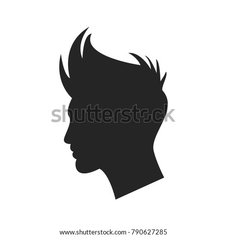 man profile with hair icon