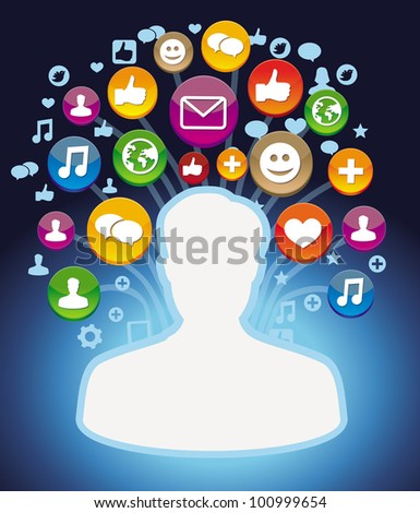 man profile with social media icons - vector illustration