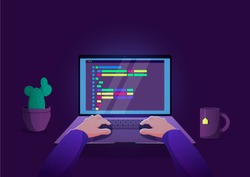 Man programmer working on computer with code on screen illustration. Programmer working writing code.