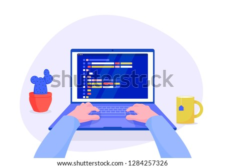 Man programmer working on computer with code on screen illustration. Programmer working writing code. Cartoon boy character work on computer isolated on white background. Flat vector illustration.