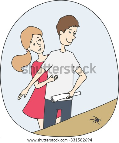 man protect girl from spider